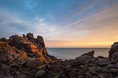 Atlantic ocean coast in Brittany. Near Ploumanac'h (France Stock Images