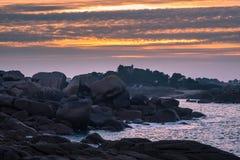 Atlantic ocean coast in Brittany. Near Ploumanac'h (France Royalty Free Stock Images