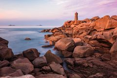 Atlantic Ocean coast in Brittany near Ploumanach, France.  Stock Photography