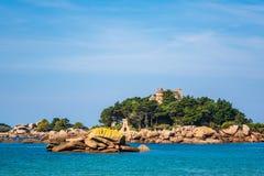 Atlantic Ocean coast in Brittany near Ploumanach, France Stock Image