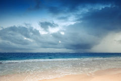 Atlantic ocean coast with dramatic stormy sky Stock Images