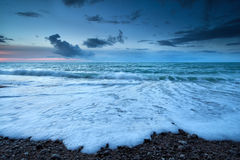 Atlantic ocean coast in dusk Stock Photos