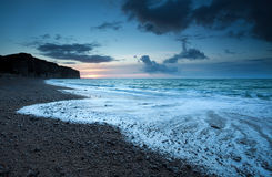 Atlantic ocean coast in dusk Stock Photo