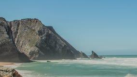 Atlantic ocean coast granite boulders and sea cliffs, Portugal. stock footage