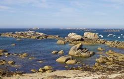 Atlantic  Ocean Coast near Meneham, Brittany Stock Photos