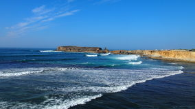 Blue ocean and sky scene. Coast of Atlantic ocean in Peniche, Portugal Royalty Free Stock Image