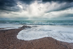 Atlantic ocean coast during storm Stock Photography