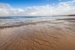 Atlantic ocean coast, wet sand and sky, Tangier, Morocco Royalty Free Stock Photography