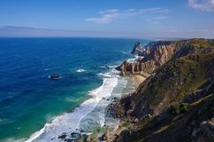 Atlantic ocean coastline view from Cabo da Roca Cape Roca is a cape which forms the westernmost extent of mainland Portugal. And continental Europe. Portugal stock photos