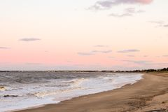 Sunset east coast bay. Atlantic Ocean east coast bay autumn sunset royalty free stock photo