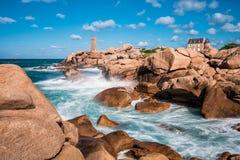 Atlantic Ocean kust i Brittany Fotografering för Bildbyråer