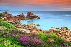 Atlantic Ocean kust i den Brittany regionen, Ploumanach, Frankrike, Europa Royaltyfri Foto