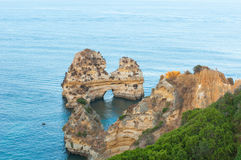 Atlantic Ocean with natural rocks in Lagos. Atlantic Ocean with natural rocks in Lagos, Portugal Stock Photography