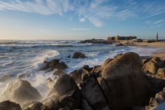 The Atlantic ocean in north Portugal shore. Sunset on the shore of northern Portugal in Vila do Conde stock image