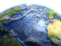 Atlantic Ocean på jord - synligt havgolv Arkivfoto