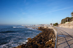 Atlantic Ocean Promenade in Estoril Royalty Free Stock Image