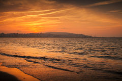 Atlantic ocean, red sunset. Tangier, Morocco Royalty Free Stock Image