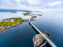 Atlantic Ocean Road aerial photography. Atlantic Ocean Road or the Atlantic Road Atlanterhavsveien been awarded the title as `Norwegian Construction of the royalty free stock photography