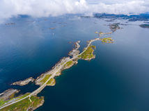 "Atlantic Ocean Road. Or the Atlantic Road (Atlanterhavsveien) been awarded the title as ""Norwegian Construction of the Century"". The road classified as a Royalty Free Stock Images"