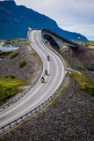 Atlantic Ocean Road Two bikers on motorcycles. Royalty Free Stock Photos