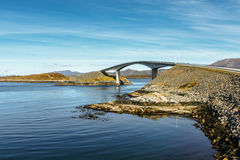 Atlantic ocean road under blue sky in Norway Royalty Free Stock Photography