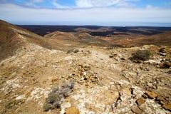 atlantic ocean   rock stone    hill and summer  lanzarote spain Stock Photo