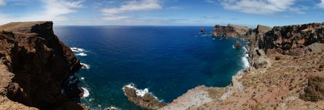 The Atlantic ocean with rocks, Madeira Royalty Free Stock Photography