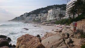 Atlantic ocean rocks seaview condominiums. Atlantic ocean sea rocks waves blue sea apartments royalty free stock photo
