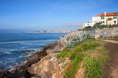 Atlantic Ocean Rocky Shore in Estoril Royalty Free Stock Photos