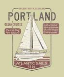 Atlantic ocean sailing. Artwork for T-shirt print in custom colors, grunge effect in separate layers royalty free illustration