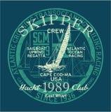 Atlantic ocean sailing regatta racing. Grunge vector print for boy shirt Stock Image