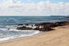 Atlantic Ocean seaside in Porto, Portugal Royalty Free Stock Photos