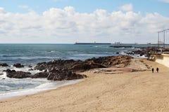 Atlantic Ocean seaside in Porto, Portugal Royalty Free Stock Image
