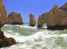 Atlantic Ocean shoreline in Ponta da Piedale Point. Aalgarve, Portugal Royalty Free Stock Images