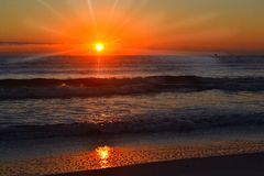Atlantic Ocean Sunrise-Florida. Time to get up, hear the waves, feel the breeze, smell the coffee Royalty Free Stock Photo