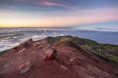 Atlantic Ocean at sunrise seen from La Palma. Atlantic Ocean and Volcanoes at sunrise seen from La Palma, Canary Island, Spain Royalty Free Stock Photography