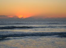 Atlantic Ocean Sunrise. The sun is almost up on a beach in Florida Royalty Free Stock Photography