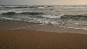 Atlantic ocean surf splashes on sunset. stock footage