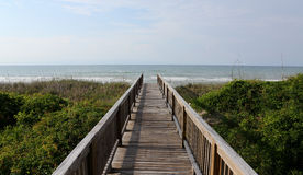 Atlantic Ocean view over a boardwalk Stock Image