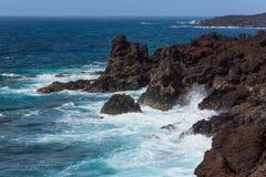 Atlantic ocean volcanic coastline, Lanzarote, Spain Royalty Free Stock Image