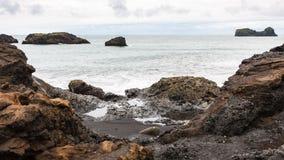 Atlantic ocean volcanic shore in Iceland Royalty Free Stock Photo