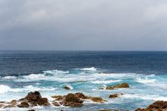 Atlantic ocean waves volcanic island nature Portugal Azores land. Atlantic ocean waves volcanic island nature Portugal Azores travel landscape blue water white Royalty Free Stock Photo