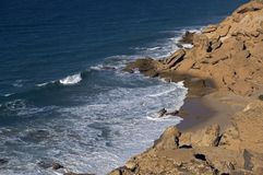 Atlantic-ocean, Western Sahara. A breath-taking cliff on the Atlantic coast Stock Images