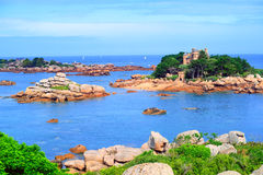 Atlantic Pink Granite Coast by Tregastes, Brittany, France Stock Photos