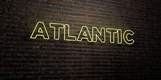 ATLANTIC -Realistic Neon Sign on Brick Wall background - 3D rendered royalty free stock image Royalty Free Stock Image