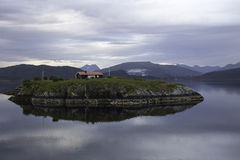 Atlantic road. Lone house on a island, Great Atlantic Road, Norway (Atlanterhavsvegen Stock Photography
