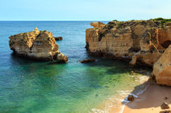 Atlantic rocky coast view Algarve, Portugal. Stock Image