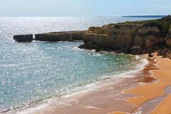 Atlantic rocky coast view Algarve, Portugal. Stock Photography
