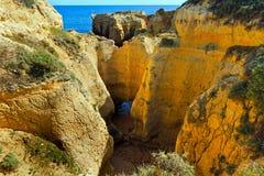 Atlantic rocky coast view (Algarve, Portugal). stock image