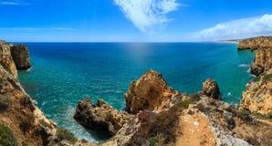 Atlantic rocky coastline Algarve, Portugal. Stock Images